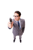 The businessman with handgun isolated on the white background Royalty Free Stock Photo