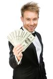 Businessman handing cash Royalty Free Stock Photography