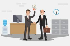 Businessman handing a certificate. Royalty Free Stock Photography