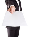 Businessman handing over letter Royalty Free Stock Photo