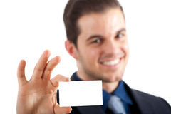 Businessman handling blank card Royalty Free Stock Image