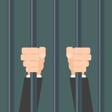 Businessman hands behind bars Stock Photo