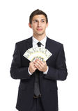 Businessman hands cash Stock Photography