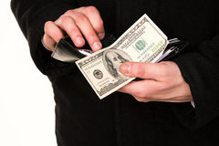 Businessman hands counting money in his wallet isolated Stock Image