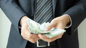 Businessman hands counting money  stock footage
