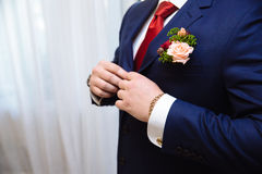 Businessman hands with cufflinks and clocks. Elegant gentleman clother Royalty Free Stock Photos