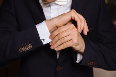 Businessman hands with cufflinks. Elegant gentleman clother Royalty Free Stock Photo