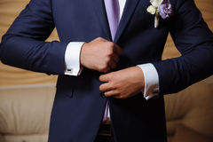 Businessman hands with cufflinks. Elegant gentleman clother Royalty Free Stock Photography