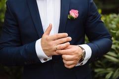 Businessman hands with cufflinks. Elegant gentleman clother Stock Image