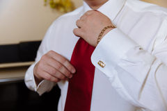 Businessman hands with cufflinks. gentleman clother Royalty Free Stock Photos