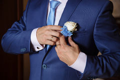 Businessman hands with cufflinks pinning his boutonniere. Elegant gentleman clother Royalty Free Stock Photo