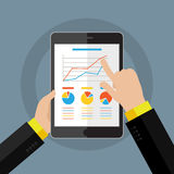 Businessman hands with financial chart. And graph. Flat design style Royalty Free Stock Image