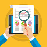 Businessman hands with financial chart. And graph. Flat design style Royalty Free Stock Images