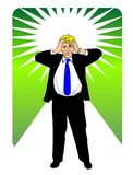 Businessman with hands on head. Businessman having a headache. Conceptual image to problems in business or thinking of new ideas Vector Illustration