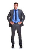 Businessman hands on hips isolated Royalty Free Stock Photos