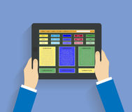 Businessman hands holding modern digital tablet Stock Photos
