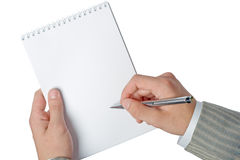 Businessman hands holding notepad Royalty Free Stock Photography