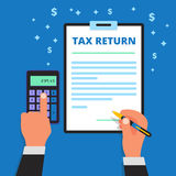 Businessman hands holding pen, calculating and filling out income. Tax return form. Man files a refund document. Submitting of declaration document. Taxpayer vector illustration