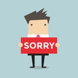 Businessman hands holding sorry sign vector. Businessman hands holding sorry sign. Vector illustration royalty free illustration