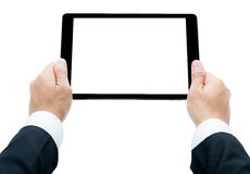 Businessman hands holding tablet Isolated Royalty Free Stock Photo