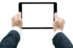 Businessman hands holding tablet Isolated Stock Image