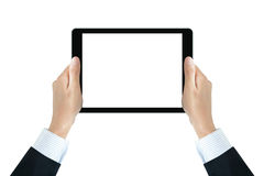 Businessman hands holding tablet pc with blank screen Stock Photo