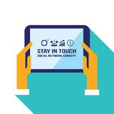 Businessman hands holding the tablet with web icons Social network Communication concept Royalty Free Stock Photos