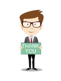 Businessman hands holding Thank you sign