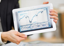 Businessman hands are holding the touch screen Royalty Free Stock Photo