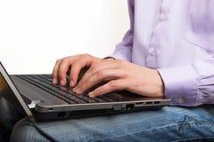 Businessman hands on laptop keyboard Royalty Free Stock Photos