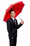 Businessman hands opened umbrella Stock Image