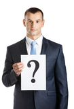 Businessman hands paper with question mark Royalty Free Stock Images