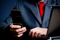 Businessman hands with phone Stock Photography