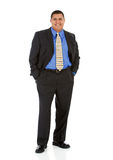Businessman:  Hands in Pockets. Series of a Hispanic businessman in suit, isolated on white, with props, in various poses Stock Photography