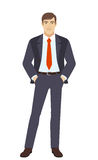 Businessman with hands in pockets. Businessman standing with hands in pockets. Vector illustration Royalty Free Stock Image