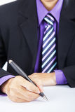 Businessman hands pointing at copyspace Royalty Free Stock Images