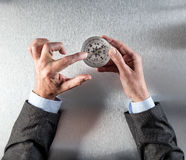 Businessman hands pointing the way forward on a compass Stock Images