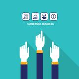 Businessman hands pointing on the web icons with raising chart piggy bank and money Successful business profit concept Modern flat Royalty Free Stock Images