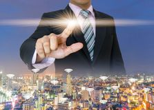 Businessman hands press the button pushing of touch screen Royalty Free Stock Photos