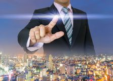 Businessman hands press the button pushing of touch screen Royalty Free Stock Photography