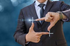 Businessman hands showing cropping gesture. royalty free stock photo