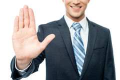 Businessman hands showing stop sign Royalty Free Stock Photography