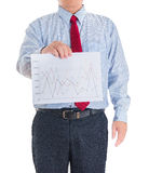 Businessman hands showing white statistics board Royalty Free Stock Photography