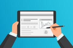Free Businessman Hands Signing Digital Signature On Modern Tablet. Vector Concept. Royalty Free Stock Photo - 117307545