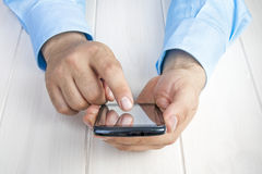 Businessman Hands Smartphone Working Touching Stock Photos