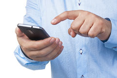 Businessman Hands Smartphone Working Touching Isolated Royalty Free Stock Photo