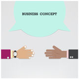 Businessman hands with speech bubble .Handshake or partnership c Stock Photo