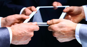 Businessman hands with tablet computer. Royalty Free Stock Image