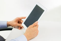 Businessman hands with tablet pc at office Royalty Free Stock Photo