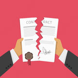 Businessman hands tearing apart contract. Businessman hands tearing apart contract document. Vector illustration in modern flat style. Contract termination Royalty Free Stock Photo